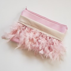 Pink Feather ladies clutch bag