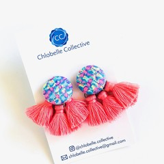 Large tassel stud pack - pink/blue