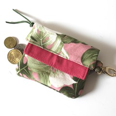 Pink and green banana leaf mini wallet