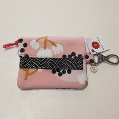 Pink floral mini wallet