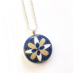 Silver Plated Pendant Necklace - Navy, white & gold flower