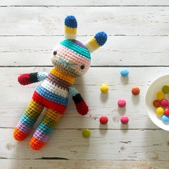 children rabbit toy, crochet amigurumi doll, bright colorful rainbow .. HOBART