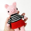 stuffed plush toy pig, amigurumi crochet doll, farm pig animal .. PRISCILLA