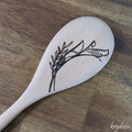 Wood Burnt Tropical Flourish Right Wooden Spoon