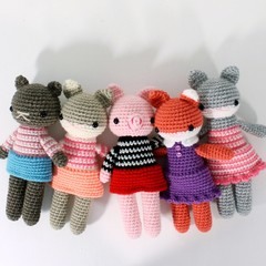 CUSTOM personalized doll, amigurumi crochet toy, stuffed plush rabbit, bear, cat