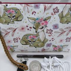 Girls/Women's small Wristlet/cosmetic/jewelery Pouch - Boho Deer Design