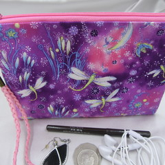 Girls/Women's small Wristlet/Cosmetic/Jewelery Pouch - Pink Dragonfly