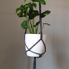 Charcoal Grey Large Macrame Pot Plant Holder