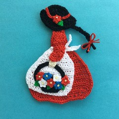 Girl with a Basket of Flowers Crochet Applique