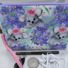 Girls/Women's small Wristlet/Cosmetic/Jewelery Pouch - Koala Design