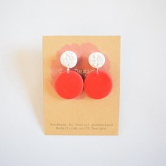 Christmas polymer clay earrings - red