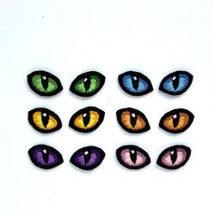 Embroidered Cats Eyes, Pack of 5 eyes 20mm Soft Safety Sew on Eyes