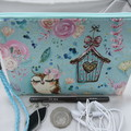 Girls/Women's small Wristlet/Cosmetic/Jewelery Pouch - Aqua Owl Design