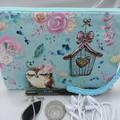Girls/Women's small Wristlet/Cosmetic/Jewelery Pouch - Aqua Owl Design