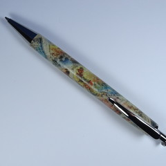 Resin Executive Click style pen using  Australiana Postage Stamps on tube