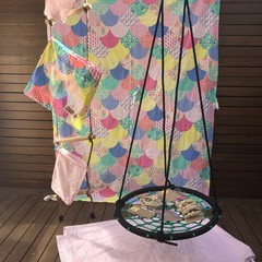Handmade Low Waste Fabric Kids Cubby Kit - Pink & Pastels Scale print