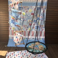 Handmade Low Waste Fabric Kids Cubby Kit - Classic Blue & Red Transport Print