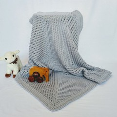Grey Newborn Hand Crocheted Baby Blanket Afghan