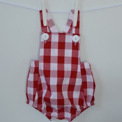 Red and white gingham romper, unisex overalls, baby gifts