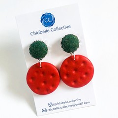 Medium fabric and clay round dangles - Christmas