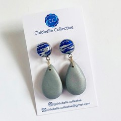 Small fabric and clay teardrop - blue and sliver metallic plain