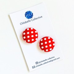 Extra Large stud pack - white polka (on red)