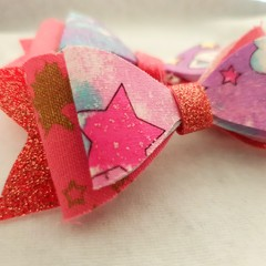 Purple pink glitter stars hair clip bow pair - baby - children - toddler