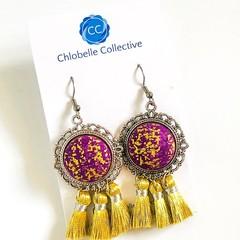 Medium purple and gold tassel dangles