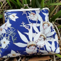 Blue Flannel Flower babies small clutch
