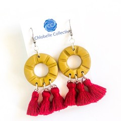 Medium gold clay round dangles with crimson tassels
