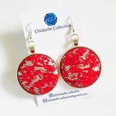 Mega fabric dangles - red and silver metallic