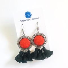 Medium red and black tassel dangles