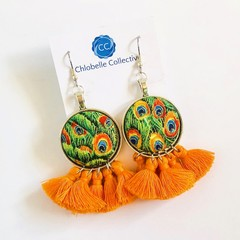 Large fabric tassel dangles - orange peacock