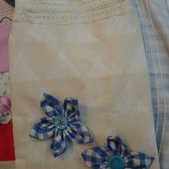 2 TOTE BAGS - Pair of Small Unlined Totes Decorated with Fabric Flowers