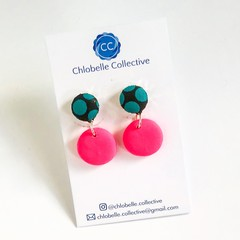 Small fabric and clay round dangles - teal polka