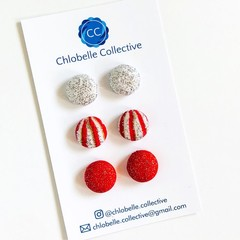 Small stud pack - sliver glitter/candy stripe/red & gold glitter
