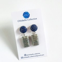 Small fabric and clay rectangle dangles - blue and silver glitter