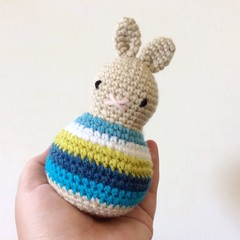 baby toy rattle, newborn baby gift, amigurumi rabbit, boy blue .. WINTER