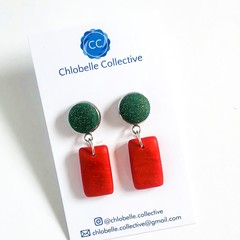 Small fabric and clay rectangle dangles - green on red Christmas