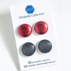 Large stud pack - metallic red and black sparkle