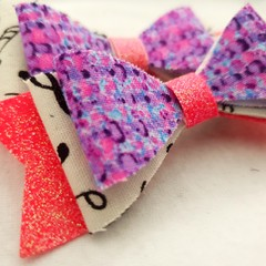 Music glitter hair clip bow pair - baby - children - toddler