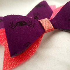 Spider purple pink glitter hair clip bow pair - baby - children - toddler