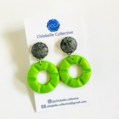 Medium fabric and clay round dangles - black, silver and green