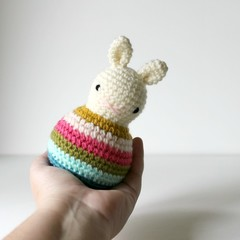 baby rattle, toddler rattle, rabbit toy bunny amigurumi .. BLOSSOM