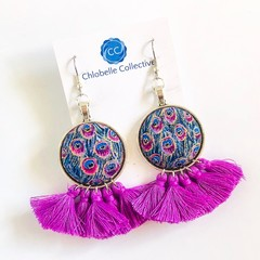 Large fabric tassel dangles - purple peacock