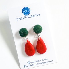 Small fabric and clay teardrop - Christmas