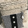 Zippered Pouch - Black & White Moroccan Style Pattern