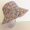 Girls summer hat in pink & gold floral fabric