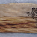 Wood Burnt Crane Camphor Laurel Cutting Board
