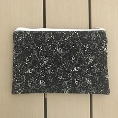 Black musical notes pencil case